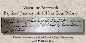 Valentine Borowiak Baptism record