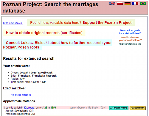 Poznan Marriage Project Example
