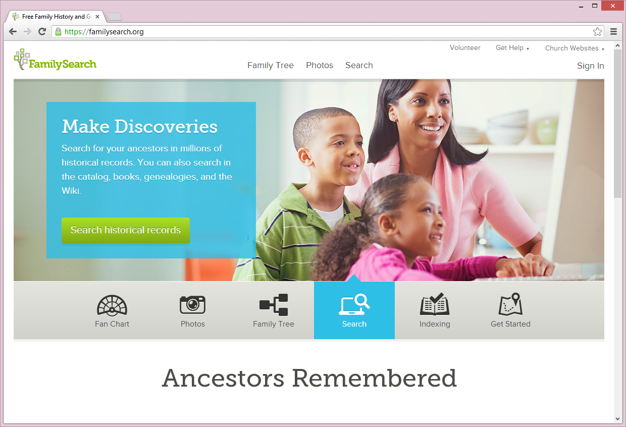 FamilyTree Website Home Page