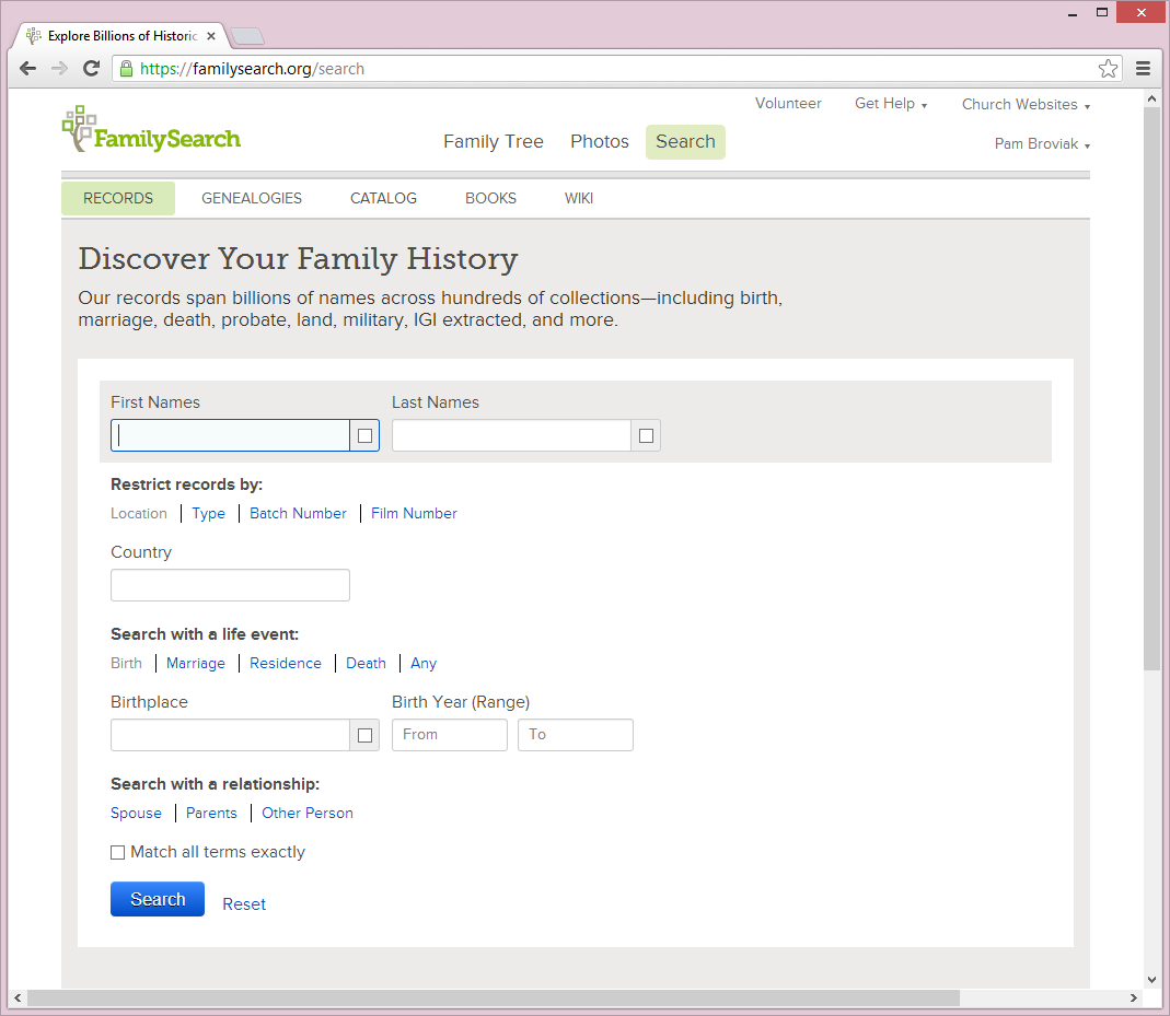 Search page on FamilySearch.org