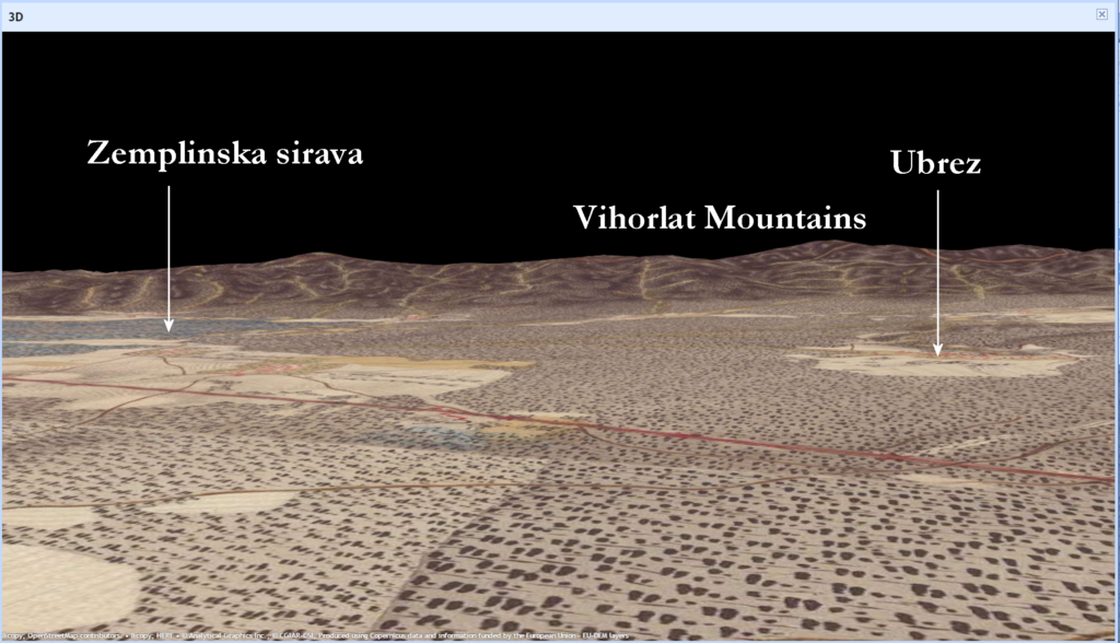 Ubrez Area, 3D View - 1st Military Survey 1700s