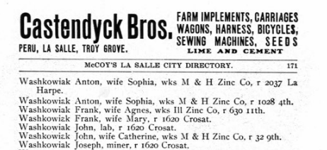 Anton Washkowiak entry in City Directory - LaSalle - 1905, Page 171