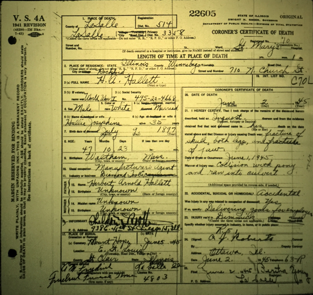 H.A. Hallett Death Certificate