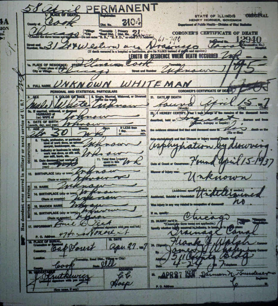 Unknown Whiteman Death Certificate, Drowned