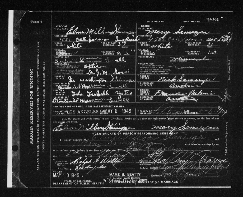 Marriage application for Elmer Steininger and Mary Samarzea 1949