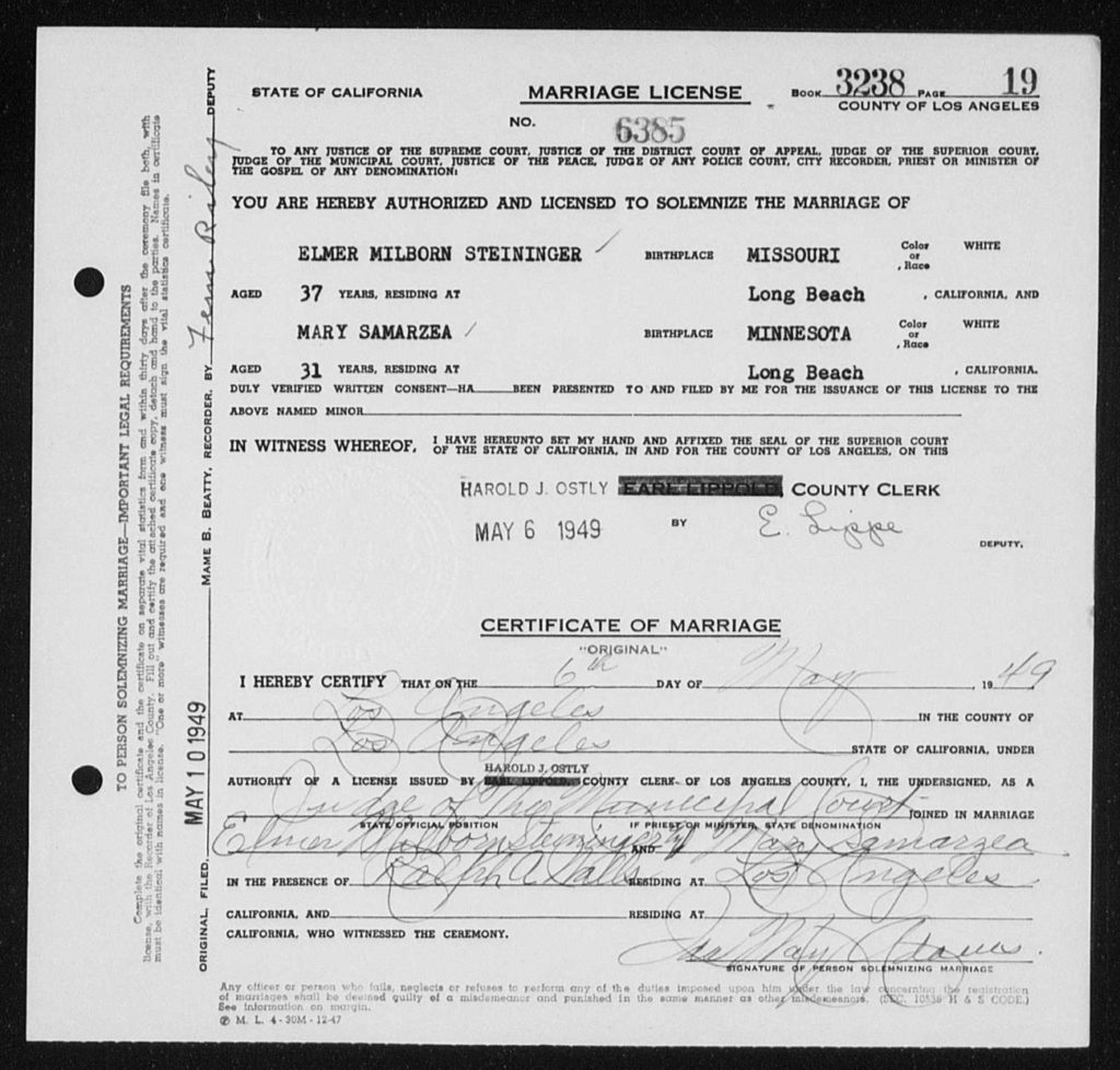 Marriage Certificate for Elmer M Steininger and Mary Samarzea, 1949, Los Angeles, Calif.
