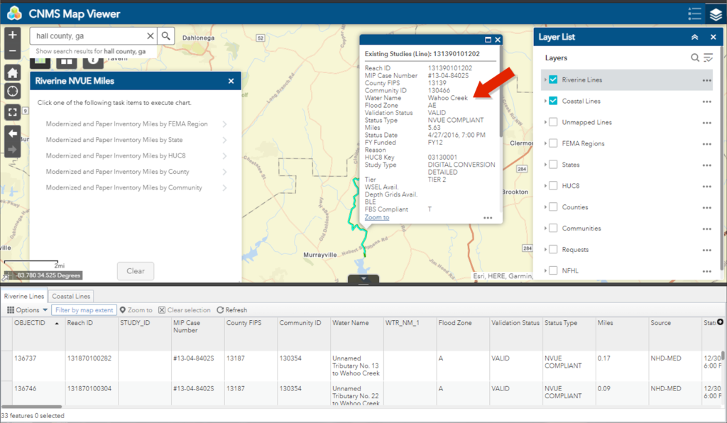 Screenshot showing list of Wahoo Creek segments in Hall county, GA