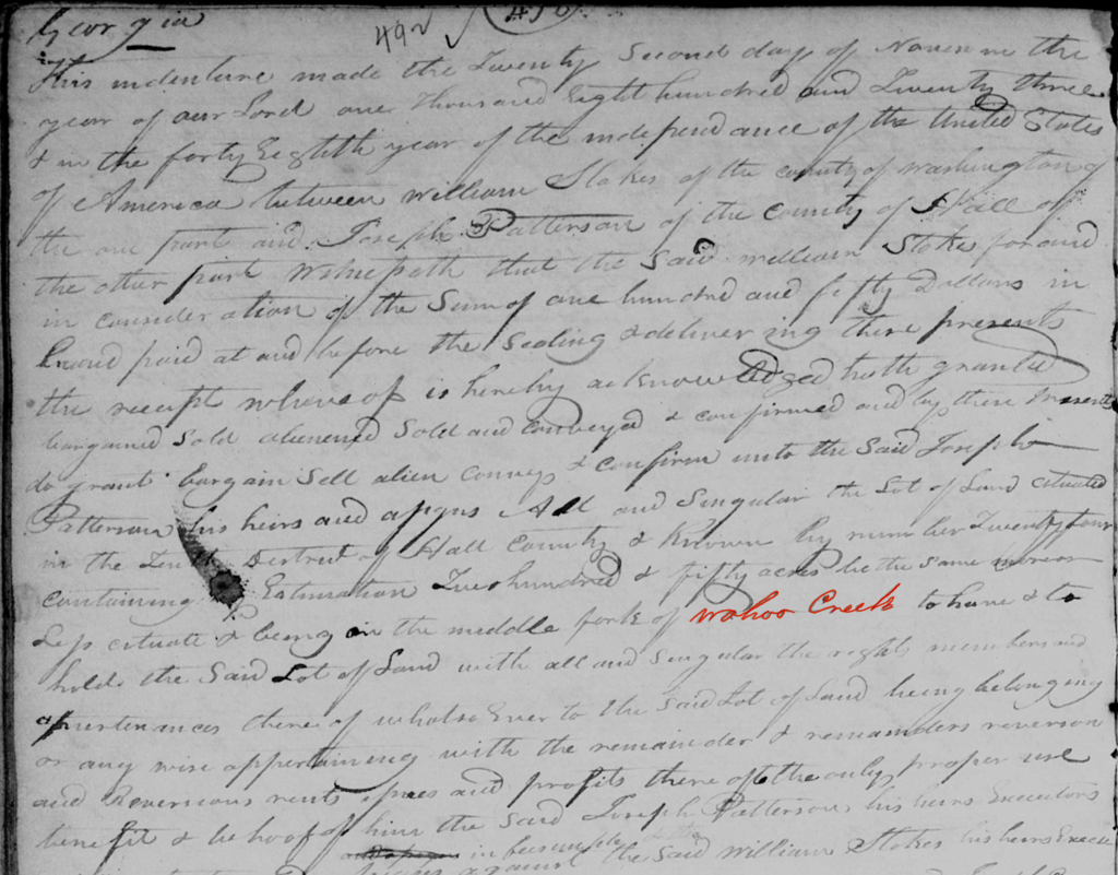 Deed to Joseph Patterson with Wahoo Creek highlighted