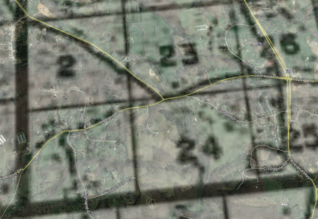 Screenshot of an overlay of the districts and Lot 24 on top of Google maps