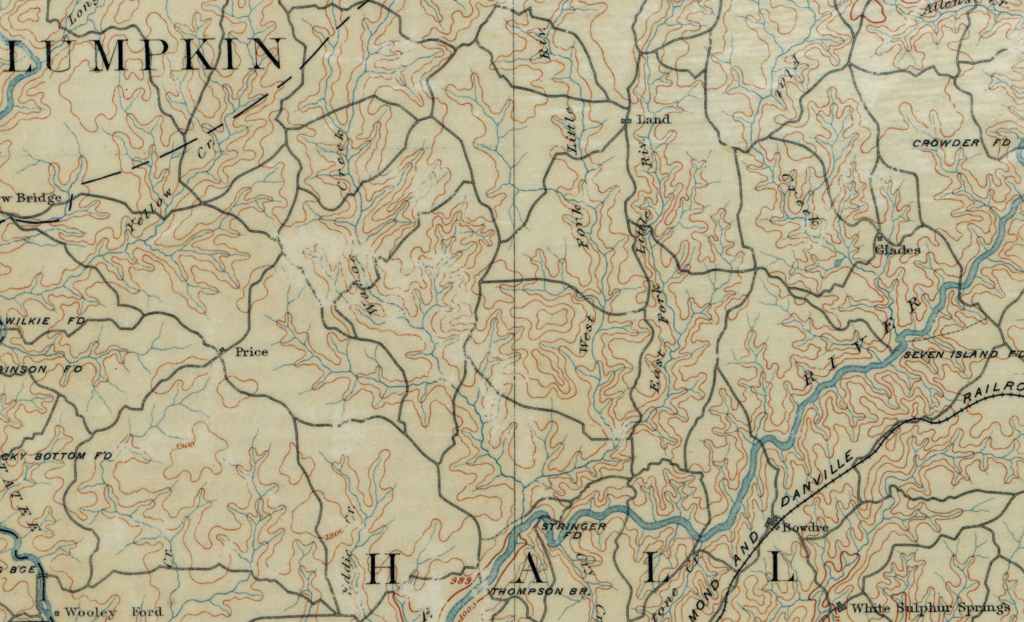 USGS quad map of the area showing Wahoo creek and West Fork of Little River